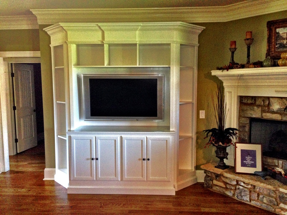 Built In Media Center Solves Awkward Living Room Design - Built in media center designs